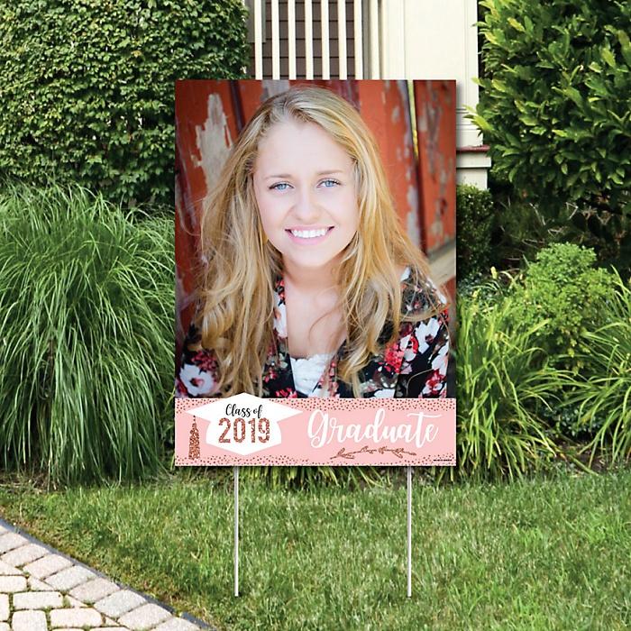 Rose Gold Grad - Photo Yard Sign - 2019 Graduation Party Decorations