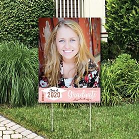 Rose Gold Grad - Photo Yard Sign - 2020 Graduation Party Decorations
