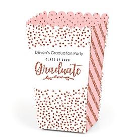 Rose Gold Grad - Personalized 2020 Graduation Popcorn Favor Treat Boxes - Set of 12