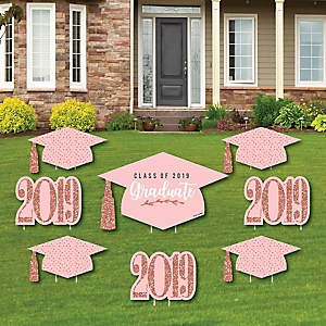 Rose Gold Grad - Yard Sign & Outdoor Lawn Decorations – 2019 Graduation Party Yard Signs - Set of 8