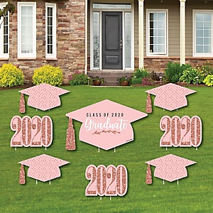 Rose Gold Grad - Yard Sign & Outdoor Lawn Decorations – 2020 Graduation Party Yard Signs - Set of 8