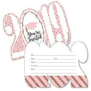 Rose Gold Grad - Shaped Fill-In Invitations - Graduation Party Invitation Cards with Envelopes - Set of 12