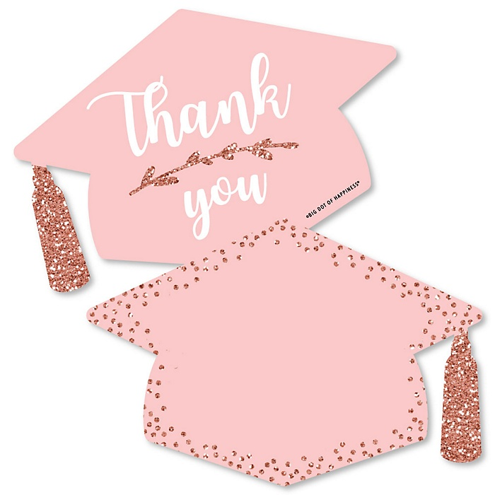 Rose Gold Grad - Shaped Thank You Cards - Graduation Party Thank You Note Cards with Envelopes - Set of 12