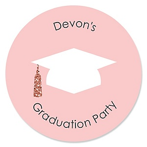 Rose Gold Grad - Personalized Graduation Sticker Labels - 24 ct