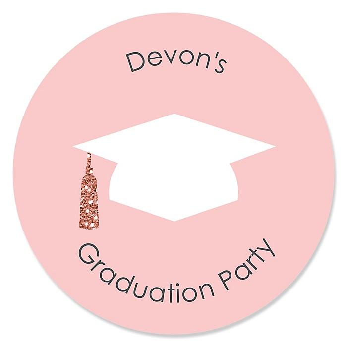 Rose Gold Grad - Personalized Graduation Sticker Labels - 24 ct