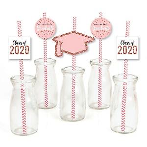 Rose Gold Grad - Paper Straw Decor - 2020 Graduation Party Striped Decorative Straws - Set of 24