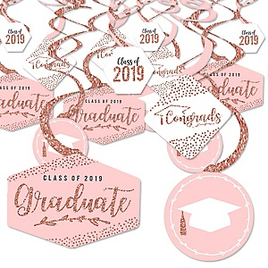 Rose Gold Grad - 2019 Graduation Party Hanging Decor - Party Decoration Swirls - Set of 40