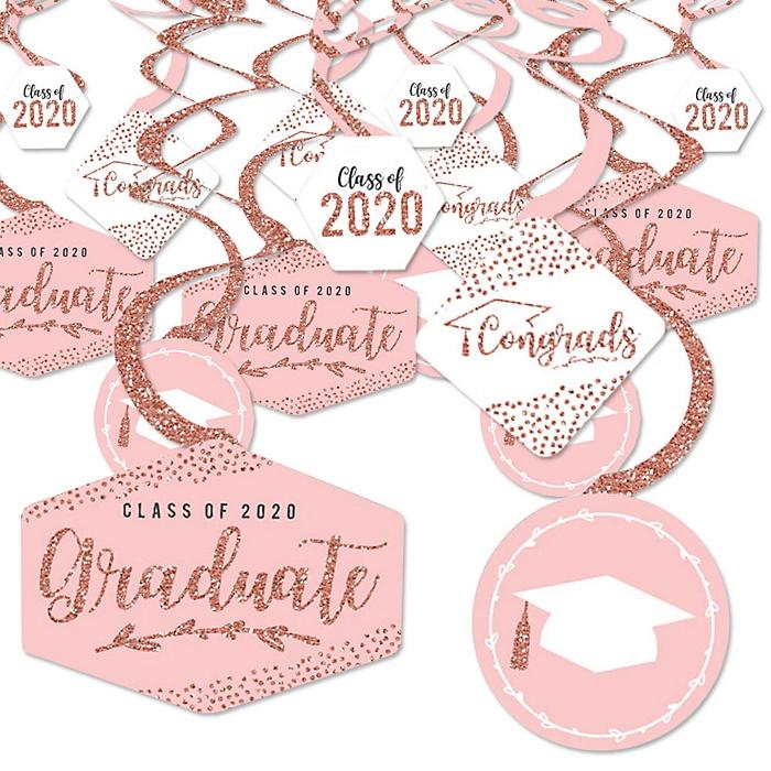Rose Gold Grad - 2020 Graduation Party Hanging Decor - Party Decoration Swirls - Set of 40