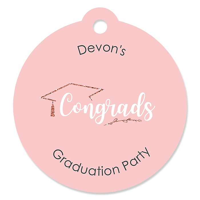 Rose Gold Grad - Round Personalized Graduation Party Die-Cut Tags - 20 ct