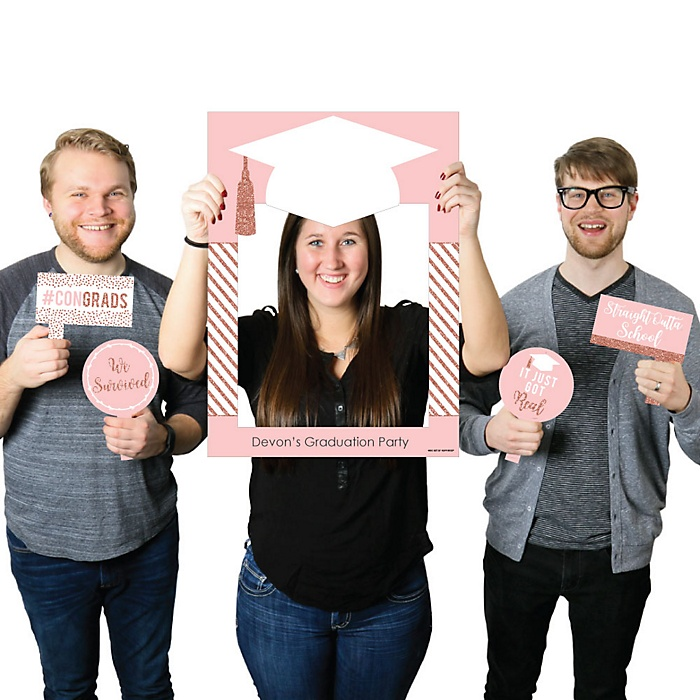 Rose Gold Grad - Personalized Graduation Party Selfie Photo Booth Picture Frame & Props - Printed on Sturdy Material