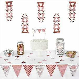 Rose Gold Grad - Triangle 2019 Graduation Party Decoration Kit - 72 Piece