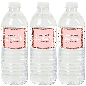Rose Gold Grad - 2019 Graduation Party Water Bottle Sticker Labels - Set of 20
