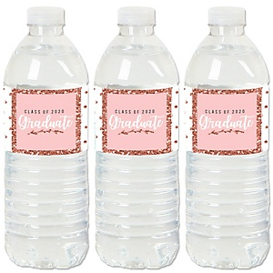 Rose Gold Grad - 2020 Graduation Party Water Bottle Sticker Labels - Set of 20