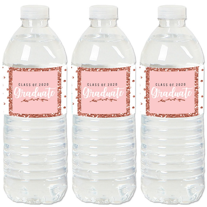 Rose Gold Grad - 2020 Graduation Party Water Bottle Sticker Labels - Set of 20