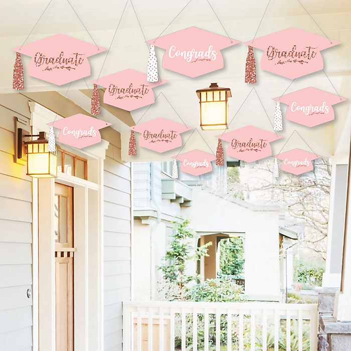 Hanging Rose Gold Grad - Outdoor Graduation Party Hanging Porch & Tree Yard Decorations - 10 Pieces