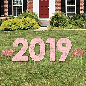 Rose Gold Grad - 2019 Yard Sign Outdoor Lawn Decorations - Graduation Party Yard Signs - 2019