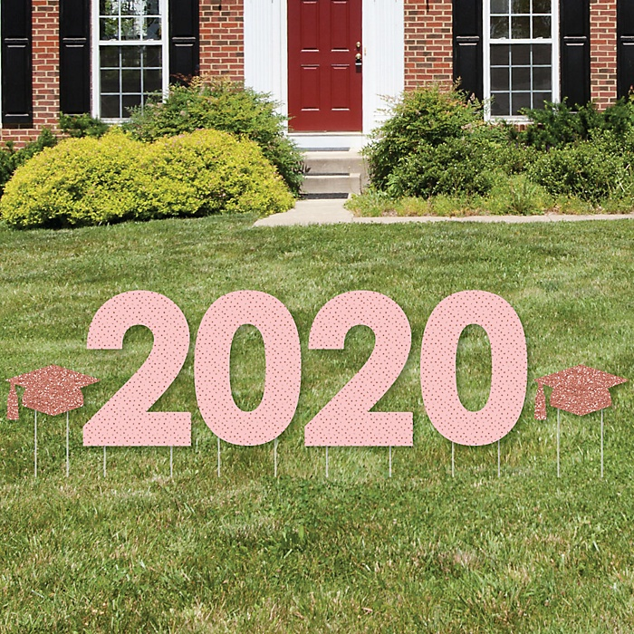 Rose Gold Grad - 2020 Yard Sign Outdoor Lawn Decorations - Graduation Party Yard Signs - 2020