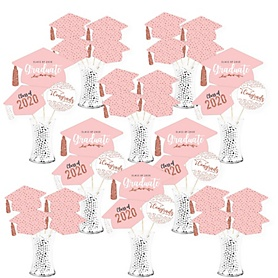 Rose Gold Grad - 2020 Graduation Party Centerpiece Sticks - Showstopper Table Toppers - 35 Pieces