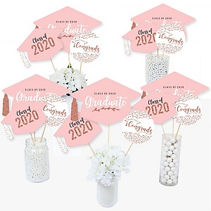 Rose Gold Grad - 2020 Graduation Party Centerpiece Sticks - Table Toppers - Set of 15