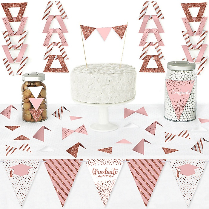 Rose Gold Grad - DIY Pennant Banner Decorations - Graduation Party Triangle Kit - 99 Pieces