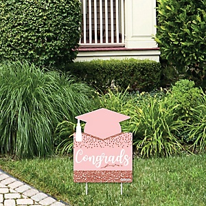 Rose Gold Grad - Outdoor Lawn Sign - Graduation Party Yard Sign - 1 Piece