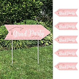 Rose Gold Grad - Arrow Graduation Party Direction Signs - Double Sided Outdoor Yard Signs - Set of 6