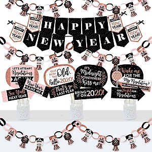 Rose Gold Happy New Year - Banner and Photo Booth Decorations - 2020 New Year's Eve Party Supplies Kit - Doterrific Bundle
