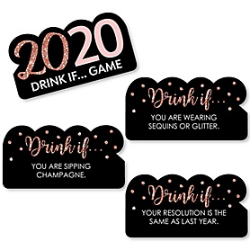 Drink If Game - Rose Gold Happy New Year - 2020 New Year's Eve Party Game - Set of 24