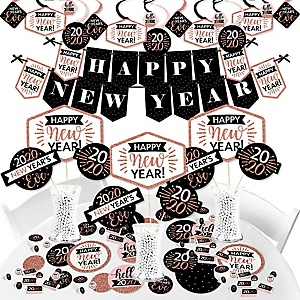 Rose Gold Happy New Year - 2020 New Year's Eve Party Supplies - Banner Decoration Kit - Fundle Bundle