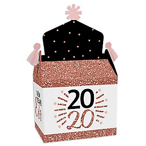 Rose Gold Happy New Year - Treat Box Party Favors - 2020 New Year's Eve Party Goodie Gable Boxes - Set of 12