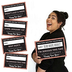Rose Gold Happy New Year - New Year's Eve Party Resolution Mug Shots - 20 Piece Photo Booth Props Kit