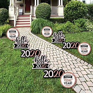 Rose Gold Happy New Year - Lawn Decorations - Outdoor 2020 New Year's Eve Party Yard Decorations - 10 Piece