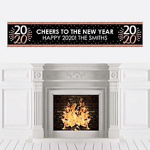 Rose Gold Happy New Year - Personalized 2020 New Year's Eve Party Banner