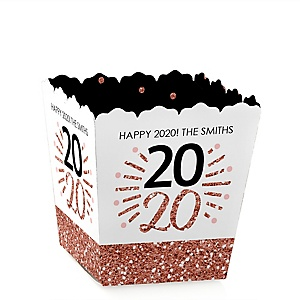 Rose Gold Happy New Year - Party Mini Favor Boxes - Personalized 2020 New Year's Eve Party Treat Candy Boxes - Set of 12