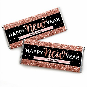 Rose Gold Happy New Year - Personalized Candy Bar Wrapper New Year's Eve Party Favors - Set of 24
