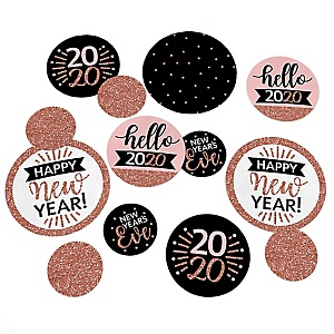 Rose Gold Happy New Year - 2020 New Year's Eve Party Giant Circle Confetti - Party Decorations - Large Confetti 27 Count