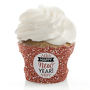 Rose Gold Happy New Year - New Year's Eve Party Decorations - Party Cupcake Wrappers - Set of 12