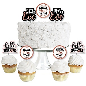Rose Gold Happy New Year - Dessert Cupcake Toppers - 2020 New Year's Eve Party Clear Treat Picks - Set of 24