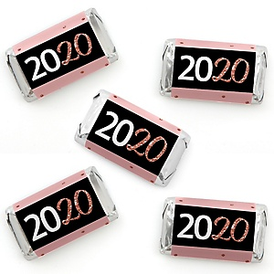Rose Gold Happy New Year - Mini Candy Bar Wrappers Stickers - 2020 New Year's Eve Party Small Favors - 40 Count