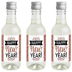Rose Gold Happy New Year - Mini Wine and Champagne Bottle Label Stickers - New Year's Eve Party Favor Gift - For Women and Men - Set of 16