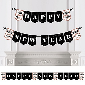 Rose Gold Happy New Year - Personalized New Year's Eve Party Bunting Banner and Decorations