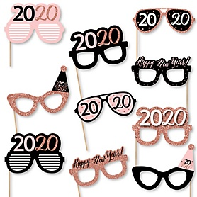 Rose Gold Happy New Year - 10 Piece 2020 Paper Card Stock 2020 New Year's Eve Glasses Photo Booth Props Kit