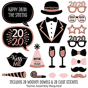 Rose Gold Happy New Year - 20 Piece 2020 New Year's Eve Party Photo Booth Props Kit