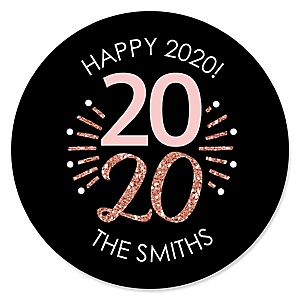 Rose Gold Happy New Year - Personalized 2020 New Year's Eve Party Sticker Labels - 24 ct