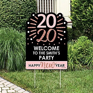 Rose Gold Happy New Year - Party Decorations - 2020 New Year's Eve Party Personalized Welcome Yard Sign