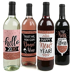 Rose Gold Happy New Year - 2020 New Year's Eve Party Decorations for Women and Men - Wine Bottle Label Stickers - Set of 4