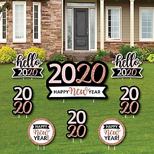 Rose Gold Happy New Year - Yard Sign and Outdoor Lawn Decorations - 2020 New Year's Eve Party Yard Signs - Set of 8