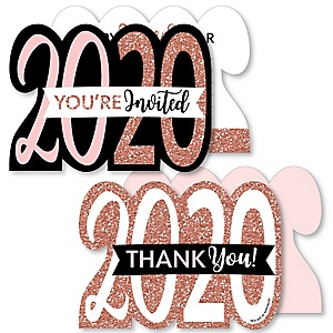 Rose Gold Happy New Year - 20 Shaped Fill-In Invitations and 20 Shaped Thank You Cards Kit - 2020 New Year's Eve Party Stationery Kit - 40 Pack