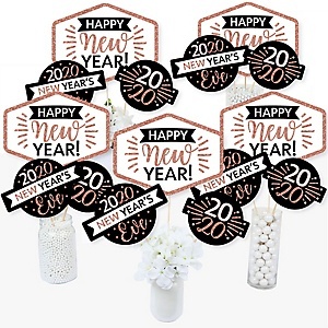 Rose Gold Happy New Year - 2020 New Year's Eve Party Centerpiece Sticks - Table Toppers - Set of 15