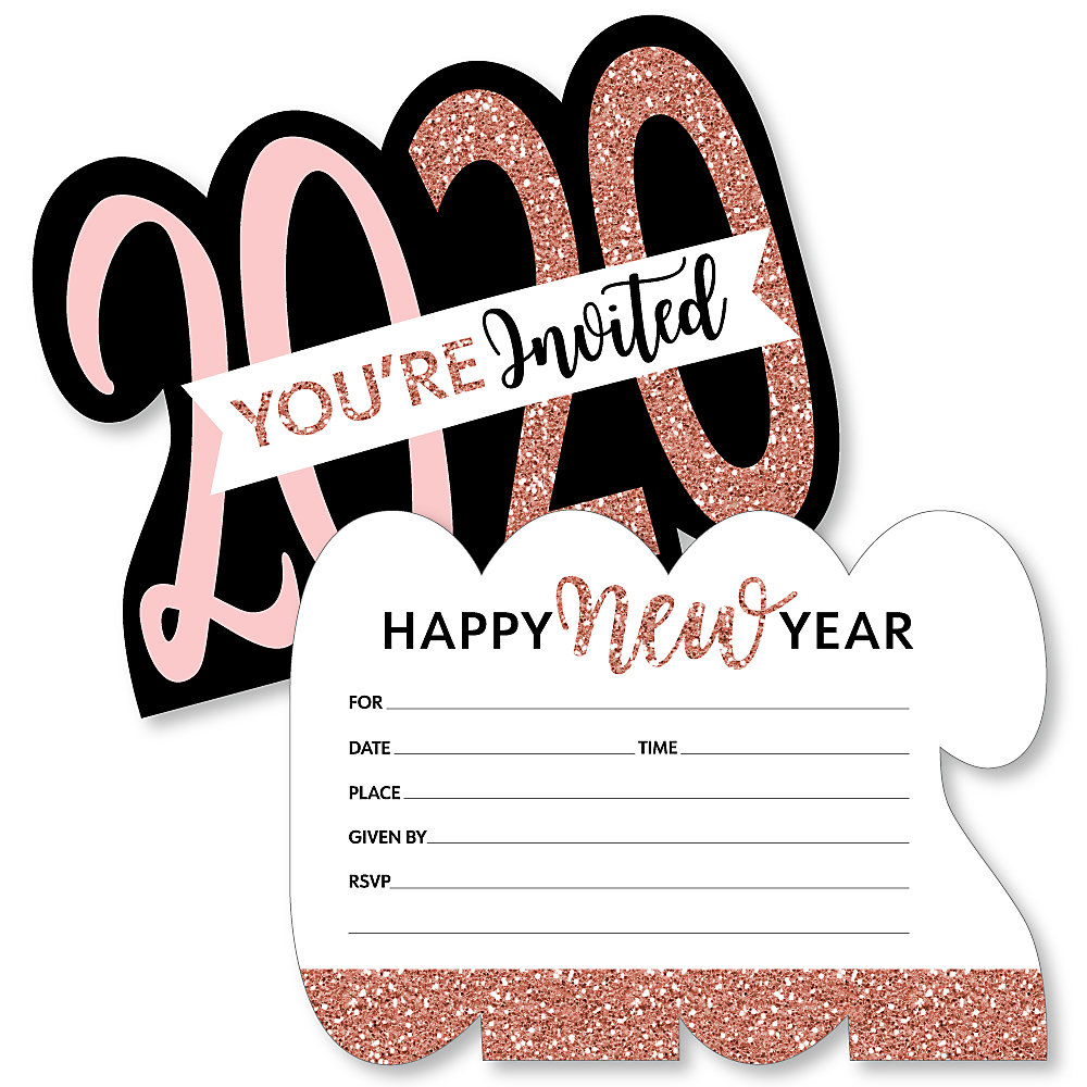Rose Gold Happy New Year Shaped Fill In Invitations 2020 New Year S Eve Party Invitation Cards With Envelopes Set Of 12